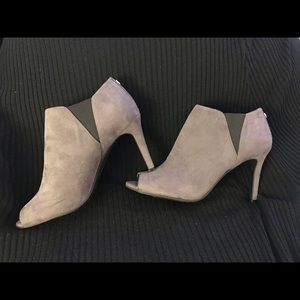 Unisa Grey Suede Peep Toe Booties